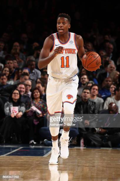 Frank Ntilikina of the New York Knicks handles the ball against the Denver Nuggets on October 30 2017 at Madison Square Garden in New York City New...