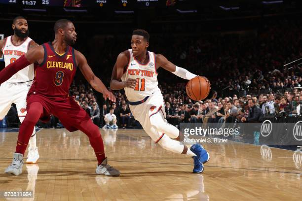 Frank Ntilikina of the New York Knicks handles the ball against the Cleveland Cavaliers on November 13 2017 at Madison Square Garden in New York City...