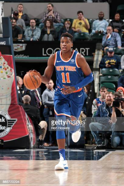 Frank Ntilikina of the New York Knicks handles the ball against the Indiana Pacers on December 4 2017 at Bankers Life Fieldhouse in Indianapolis...