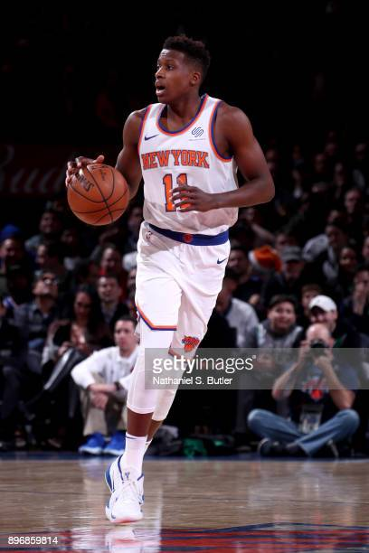 Frank Ntilikina of the New York Knicks handles the ball against the Boston Celtics on December 21 2017 at Madison Square Garden in New York City New...