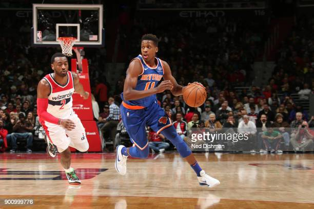 Frank Ntilikina of the New York Knicks handles the ball against the Washington Wizards on January 3 2018 at Capital One Arena in Washington DC NOTE...