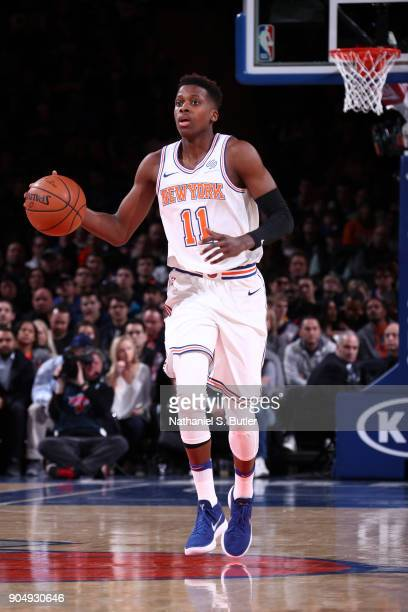 Frank Ntilikina of the New York Knicks handles the ball against the New Orleans Pelicans on January 14 2018 at Madison Square Garden in New York City...