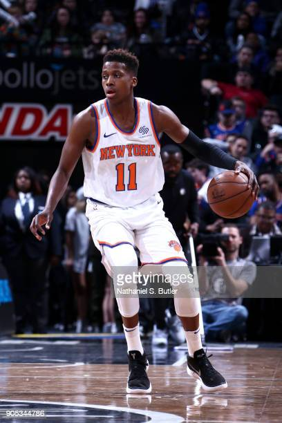 Frank Ntilikina of the New York Knicks handles the ball against the Brooklyn Nets on January 15 2018 at Barclays Center in Brooklyn New York NOTE TO...