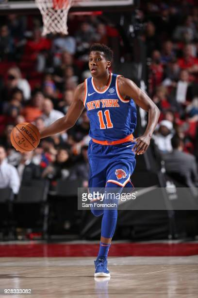 Frank Ntilikina of the New York Knicks handles the ball against the Portland Trail Blazers on March 6 2018 at the Moda Center in Portland Oregon NOTE...