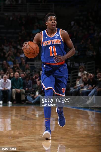Frank Ntilikina of the New York Knicks handles the ball against the Milwaukee Bucks on March 9 2018 at the BMO Harris Bradley Center in Milwaukee...