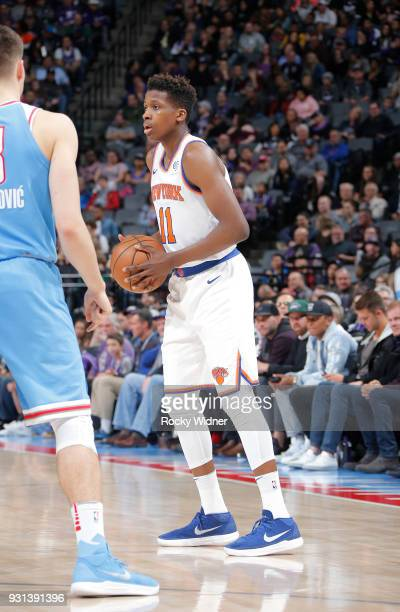 Frank Ntilikina of the New York Knicks handles the ball against the Sacramento Kings on March 4 2018 at Golden 1 Center in Sacramento California NOTE...