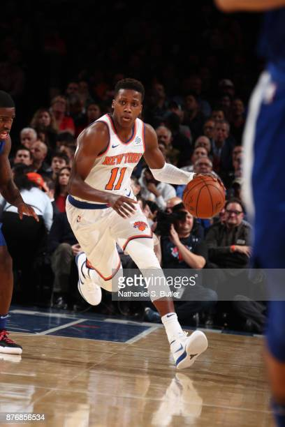 Frank Ntilikina of the New York Knicks handles the ball during the game against the LA Clippers on November 20 2017 at Madison Square Garden in New...