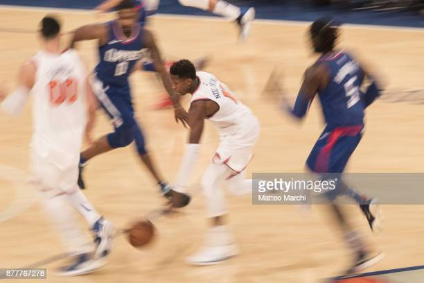 Frank Ntilikina of the New York Knicks handles the ball during the second half of the game against the Los Angeles Clippers at Madison Square Garden...