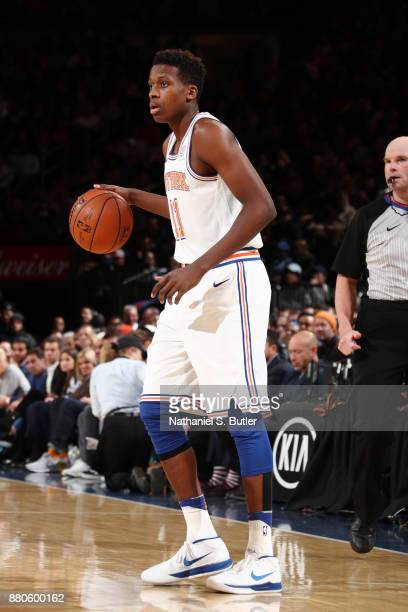 Frank Ntilikina of the New York Knicks handles the ball during the game against the Portland Trail Blazers on November 27 2017 at Madison Square...