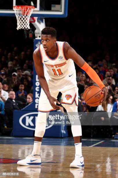 Frank Ntilikina of the New York Knicks handles the ball during the game against the Orlando Magic on December 3 2017 at Madison Square Garden in New...