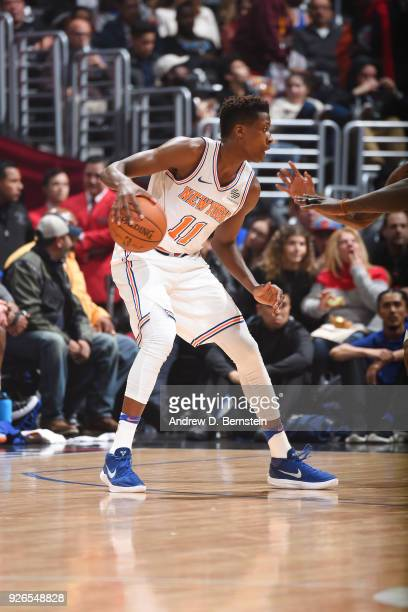 Frank Ntilikina of the New York Knicks handles the ball during the game against the LA Clippers on March 2 2018 at STAPLES Center in Los Angeles...