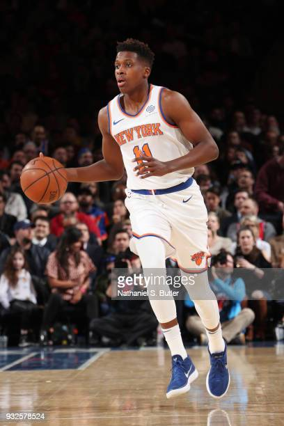 Frank Ntilikina of the New York Knicks handles the ball during the game against the Philadelphia 76ers on March 15 2018 at Madison Square Garden in...