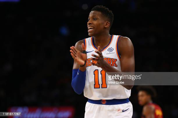 Frank Ntilikina of the New York Knicks in action against the Cleveland Cavaliers at Madison Square Garden on November 10 2019 in New York City...