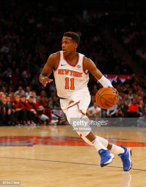 Frank Ntilikina of the New York Knicks in action against the Cleveland Cavaliers at Madison Square Garden on November 13 2017 in New York City The...