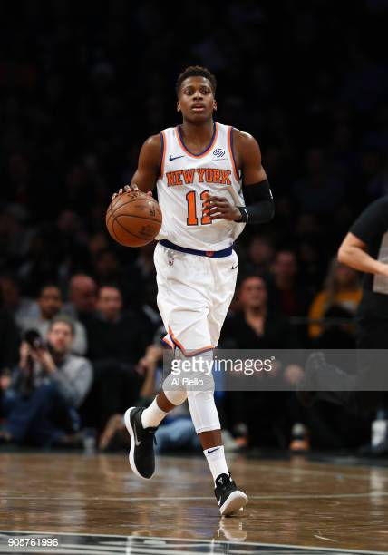 Frank Ntilikina of the New York Knicks in action against the Brooklyn Nets during their game at the Barclays Center on January 15 2018 in New York...