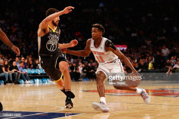 Frank Ntilikina of the New York Knicks in action against the Golden State Warriors at Madison Square Garden on October 26 2018 in New York City NOTE...