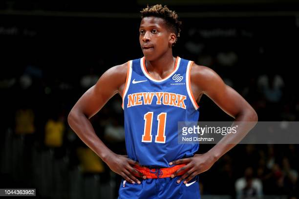 Frank Ntilikina of the New York Knicks is seen against the Washington Wizards during preseason game on October 1 2018 at Capital One Arena in...