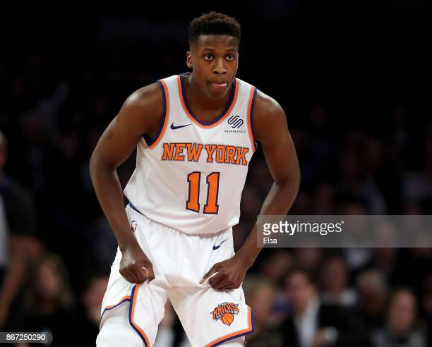 Frank Ntilikina of the New York Knicks lines up for defense in the first half against the Brooklyn Nets at Madison Square Garden on October 27 2017...