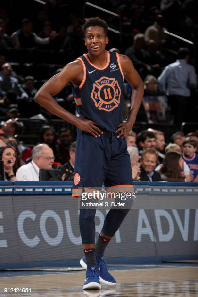 Frank Ntilikina of the New York Knicks looks on against the Brooklyn Nets on January 30 2018 at Madison Square Garden in New York City New York NOTE...