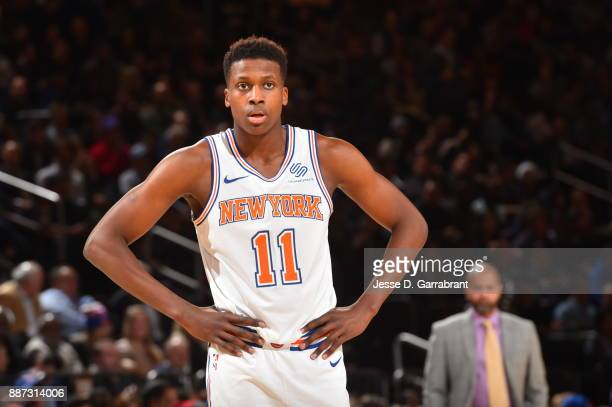 Frank Ntilikina of the New York Knicks looks on against the Memphis Grizzlies at Madison Square Garden on December 6 2017 in New YorkNew York NOTE TO...