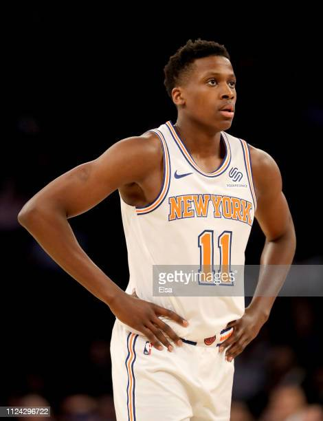 Frank Ntilikina of the New York Knicks looks on during a free throw in the first quarter against the Houston Rockets at Madison Square Garden on...