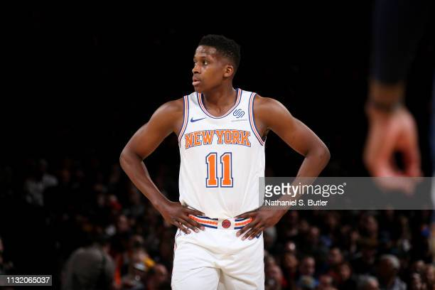 Frank Ntilikina of the New York Knicks looks on during a game against the Denver Nuggets on March 22 2019 at Madison Square Garden in New York City...