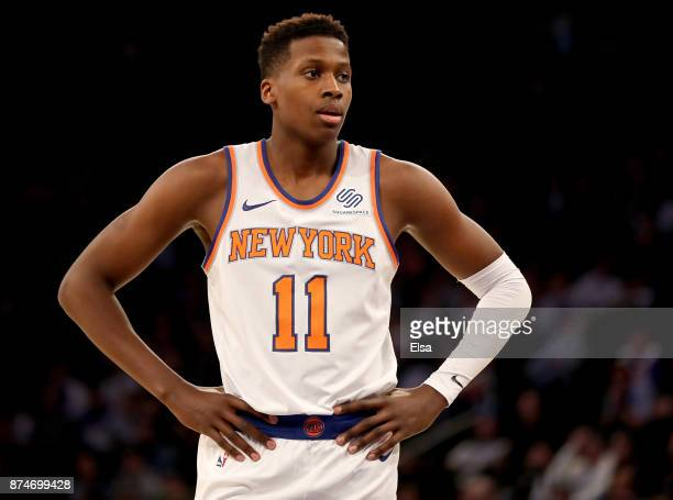 Frank Ntilikina of the New York Knicks looks on during a stop in play in the first half against the Utah Jazz at Madison Square Garden on November 15...
