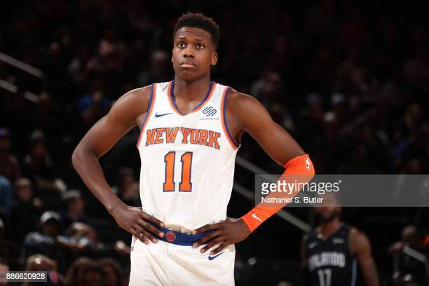 Frank Ntilikina of the New York Knicks looks on during game against the Orlando Magic on December 3 2017 at Madison Square Garden in New York New...