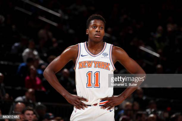 Frank Ntilikina of the New York Knicks looks on during the game against the Portland Trail Blazers on November 27 2017 at Madison Square Garden in...