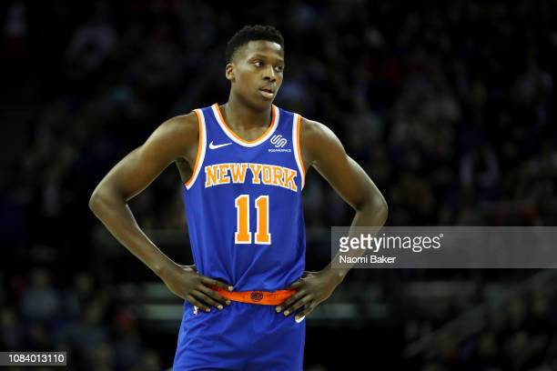 Frank Ntilikina of The New York Knicks looks on during the NBA London game 2019 between Washington Wizards and New York Knicks at The O2 Arena on...