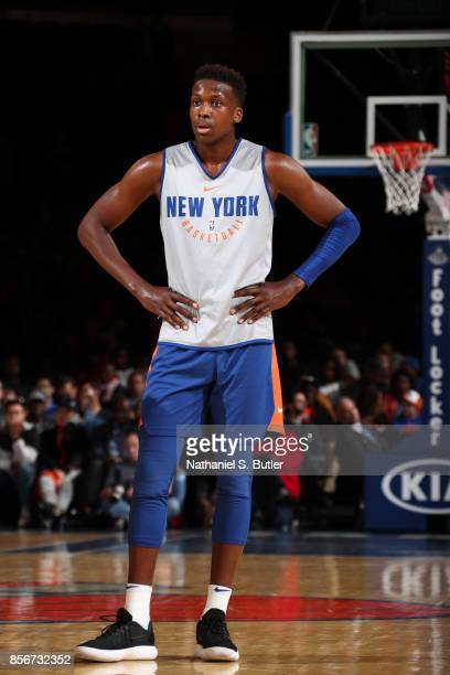 Frank Ntilikina of the New York Knicks participates during the Open Practice for the New York Knicks on October 1 2017 at Madison Square Garden in...