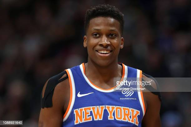 Frank Ntilikina of the New York Knicks plays the Denver Nuggets at the Pepsi Center on January 01 2019 in Denver Colorado NOTE TO USER User expressly...