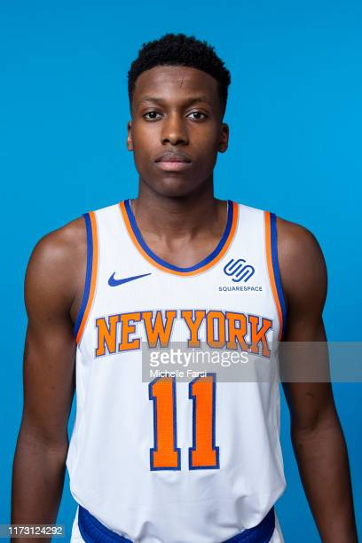 Frank Ntilikina of the New York Knicks poses for a head shot during media day on September 30 2019 at the Madison Square Garden Training Center in...