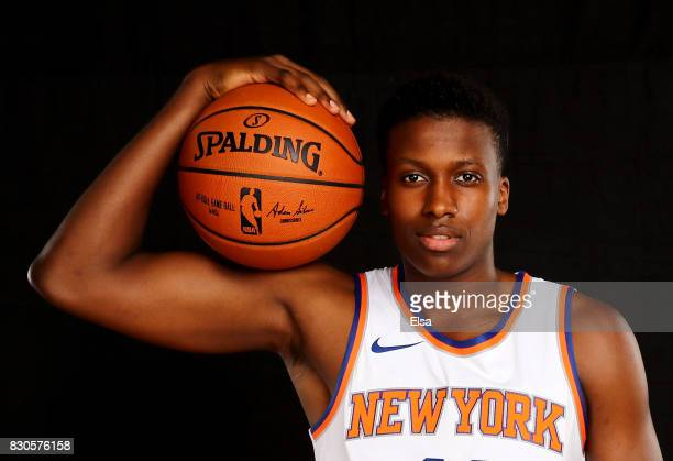 Frank Ntilikina of the New York Knicks poses for a portrait during the 2017 NBA Rookie Photo Shoot at MSG Training Center on August 11 2017 in...