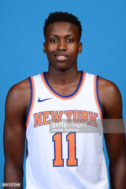 Frank Ntilikina of the New York Knicks poses for a portrait during 2017 Media Day on September 25 2017 at the New York Knicks Practice Facility in...