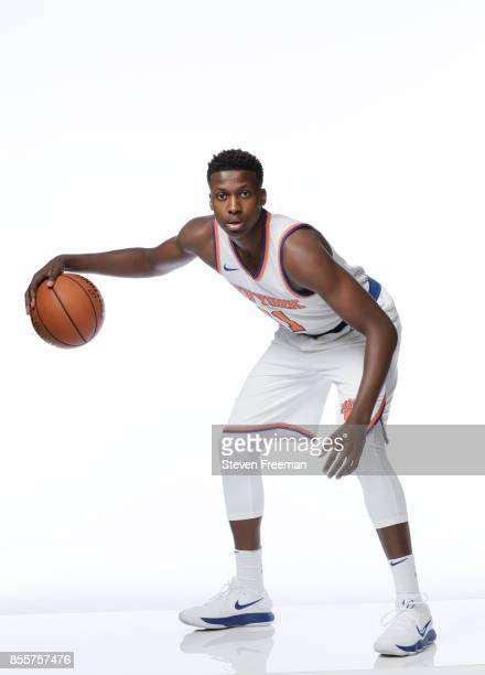 Frank Ntilikina of the New York Knicks poses for a portrait during Media Day on September 25 2017 at the Knicks Practice Center in Tarrytown New York...