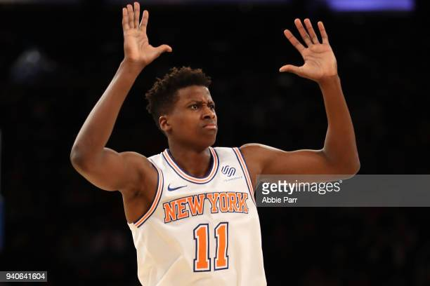 Frank Ntilikina of the New York Knicks reacts in the second quarter against the Minnesota Timberwolves during their game at Madison Square Garden on...