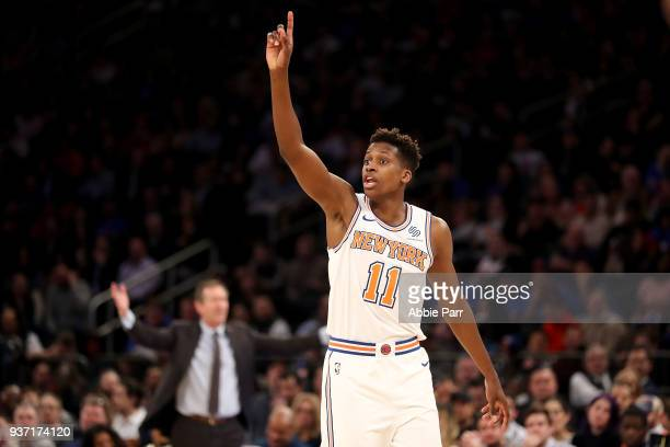 Frank Ntilikina of the New York Knicks reacts to a call in the third quarter against the Minnesota Timberwolves during their game at Madison Square...