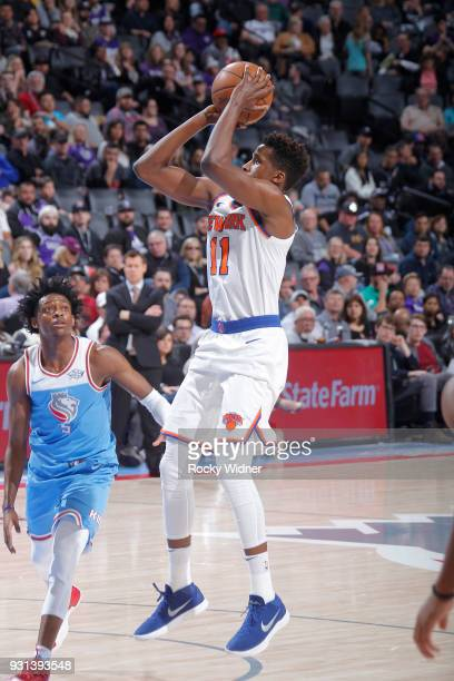 Frank Ntilikina of the New York Knicks shoots against the Sacramento Kings on March 4 2018 at Golden 1 Center in Sacramento California NOTE TO USER...