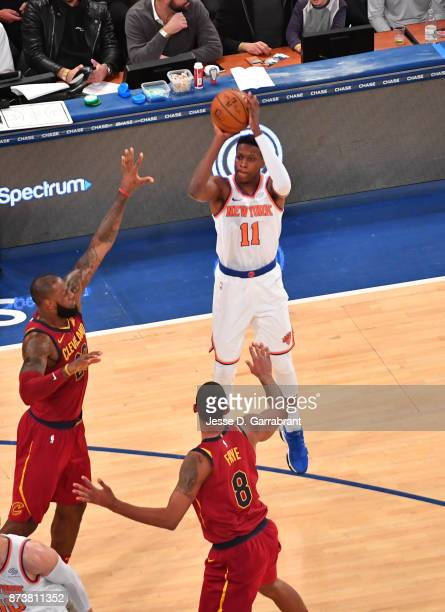 Frank Ntilikina of the New York Knicks shoots the ball against the Cleveland Cavaliers at Madison Square Garden on November 13 2017 in New YorkNew...