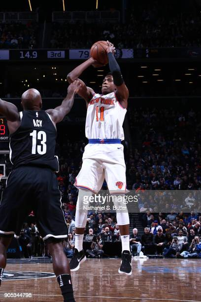 Frank Ntilikina of the New York Knicks shoots the ball against the Brooklyn Nets on January 15 2018 at Barclays Center in Brooklyn New York NOTE TO...