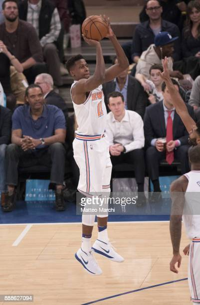 Frank Ntilikina of the New York Knicks shoots the ball during the game against the Memphis Grizzlies at Madison Square Garden on December 6 2017 in...