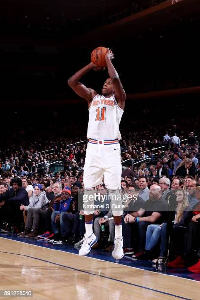 Frank Ntilikina of the New York Knicks shoots the ball during the game against the Los Angeles Lakers on December 12 2017 at Madison Square Garden in...