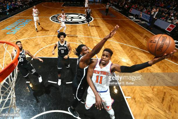 Frank Ntilikina of the New York Knicks shoots the ball during the game against the Brooklyn Nets on January 15 2018 at Barclays Center in Brooklyn...