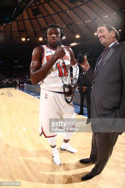 Frank Ntilikina of the New York Knicks talks with media after the game against the Indiana Pacers on November 5 2017 at Madison Square Garden in New...