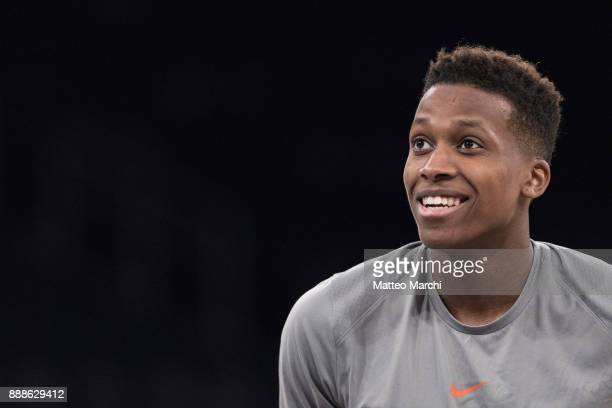 Frank Ntilikina of the New York Knicks warms up before the game against the Memphis Grizzlies at Madison Square Garden on December 6 2017 in New York...