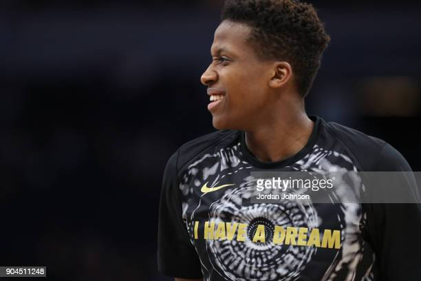 Frank Ntilikina of the New York Knicks warms up before the game against the Minnesota Timberwolves on January 12 2018 at Target Center in Minneapolis...