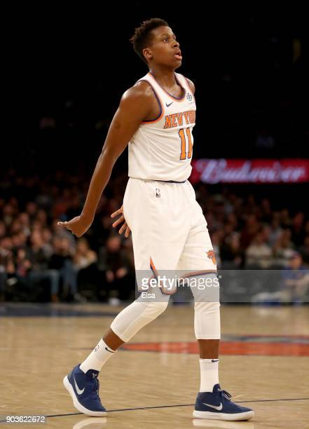 Frank Ntilikina of the New York Knicks watches his shot in the fourth quarter against the Chicago Bulls at Madison Square Garden on January 10 2018...