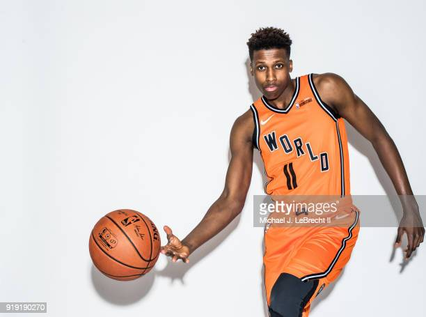 Frank Ntilikina of the World team poses for a portrait prior to the Mountain Dew Kickstart Rising Stars Game during AllStar Friday Night as part of...
