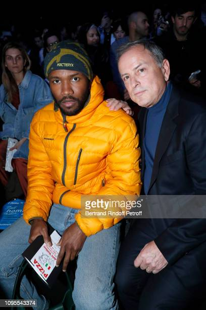 Frank Ocean and CEO of Louis Vuitton Michael Burke attend the Louis Vuitton Menswear Fall/Winter 2019-2020 show as part of Paris Fashion Week on...